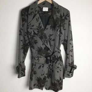 Elle Shadow Flower Trench Coat w/Belt Sz 14